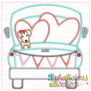 Farm Truck with hearts and Pup with Bow-ZigZag