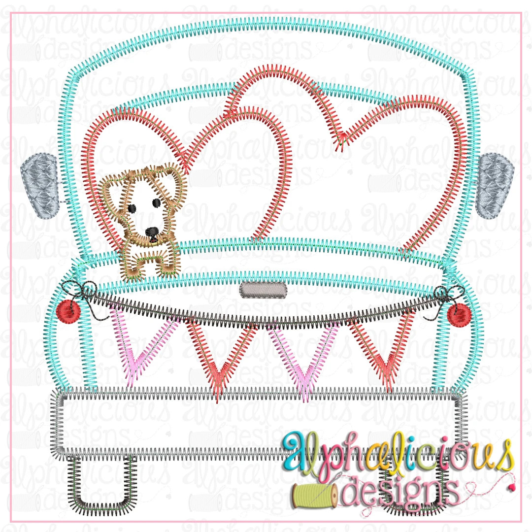 Farm Truck with hearts and Pup-ZigZag