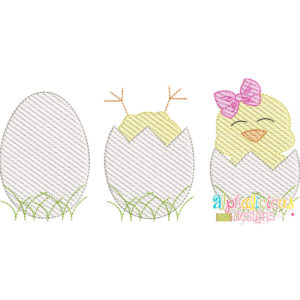 Chicks in Eggs with Bow- Sketch