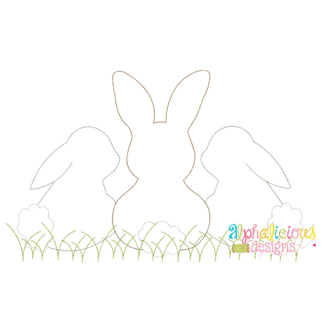 Sweet and Simple Bunny Trio- No Bow- Triple Bean