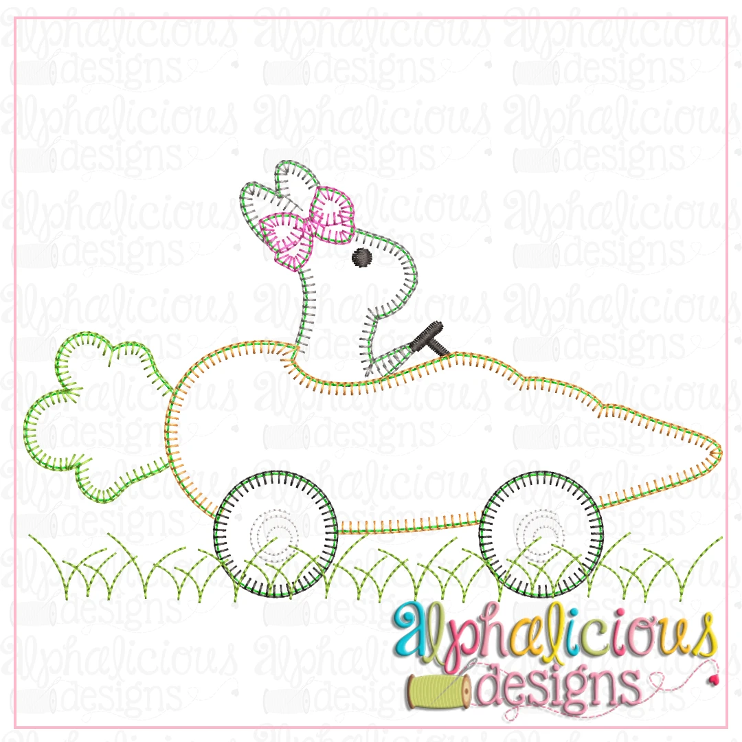 Bunny with Bow in Carrot Car- Blanket