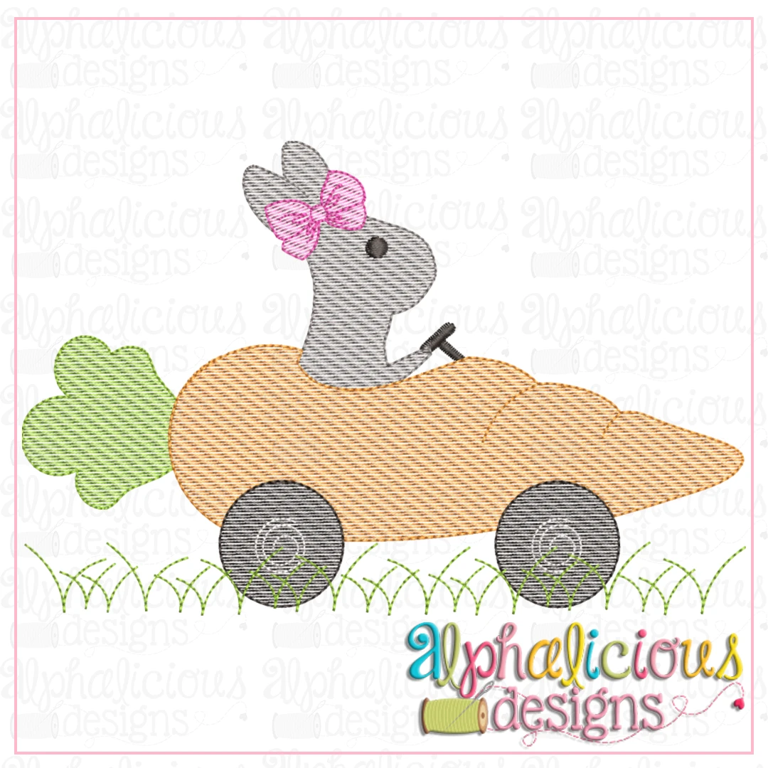 Bunny with Bow in Carrot Car- Sketch