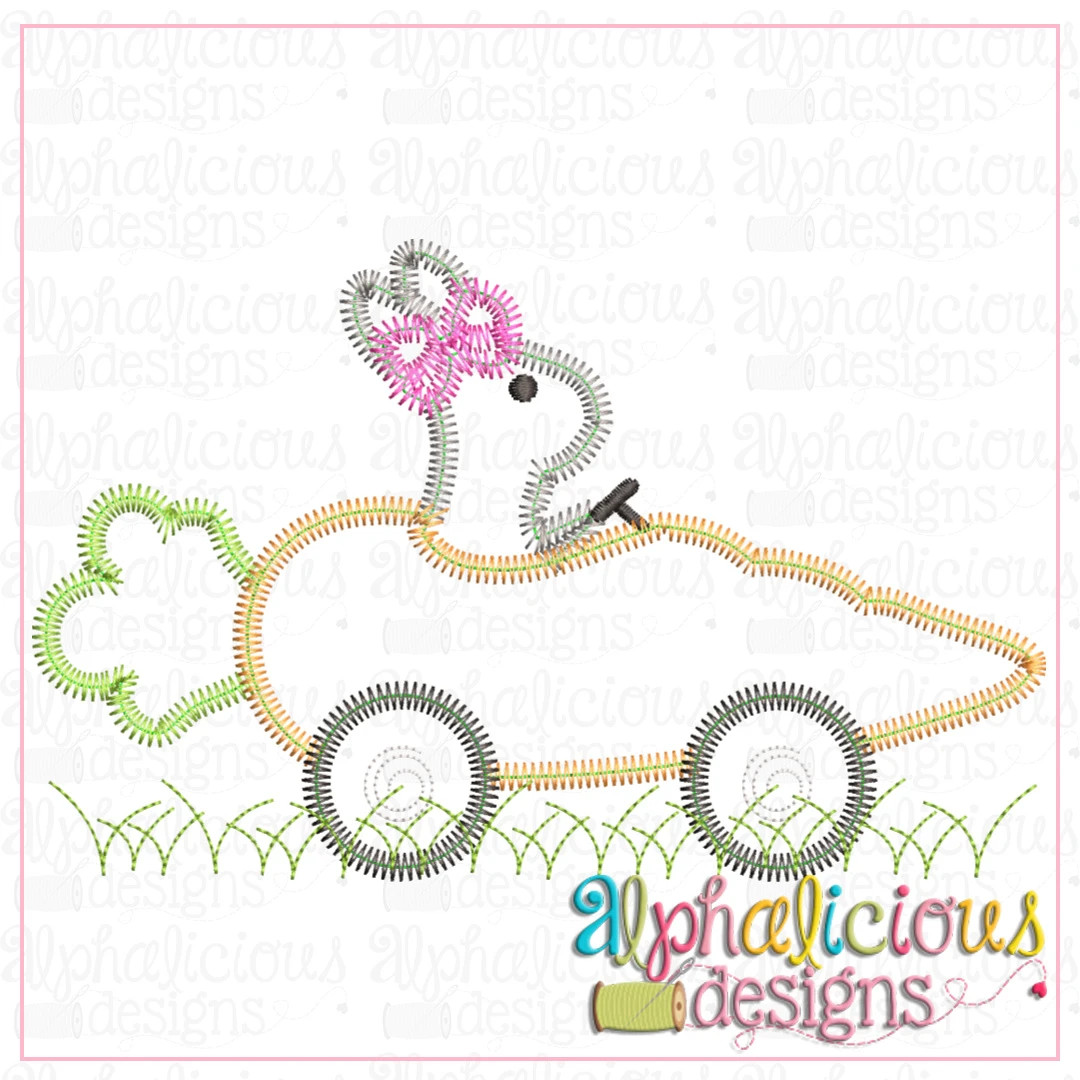 Bunny with Bow in Carrot Car- ZigZag