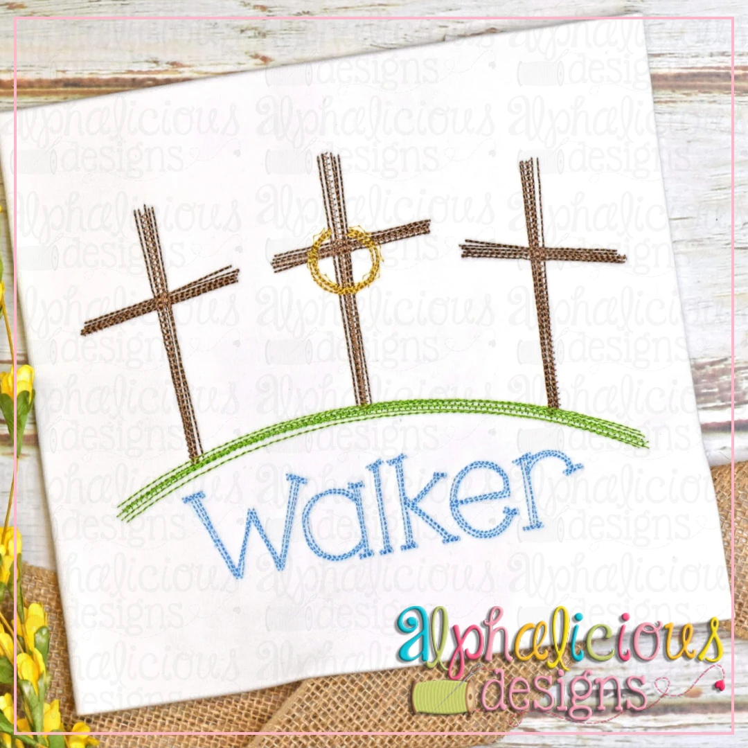 Three Crosses on the Hill- Doodle Embroidery