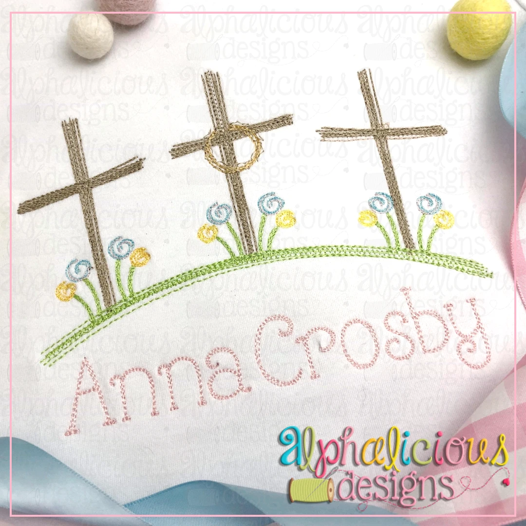 Three Crosses on the Hill with Flowers- Doodle Embroidery