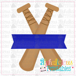 Bats with Banner- Blue - Printable