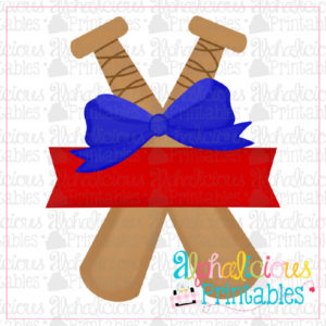Bats with Banner with Bow-Blue and Red-Printable