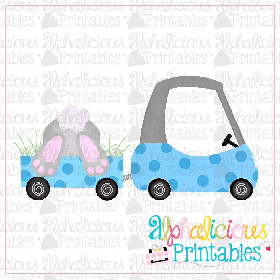 Coupe with Bunny Bum-Blue-Printable