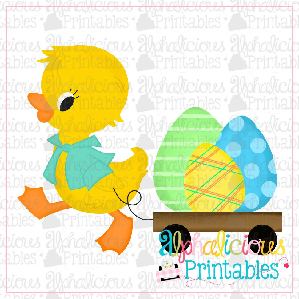 Duck with Cart-Eggs-Printable