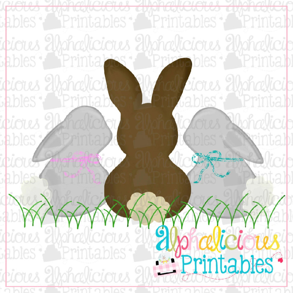 Simple Bunnies with Bows-Printable