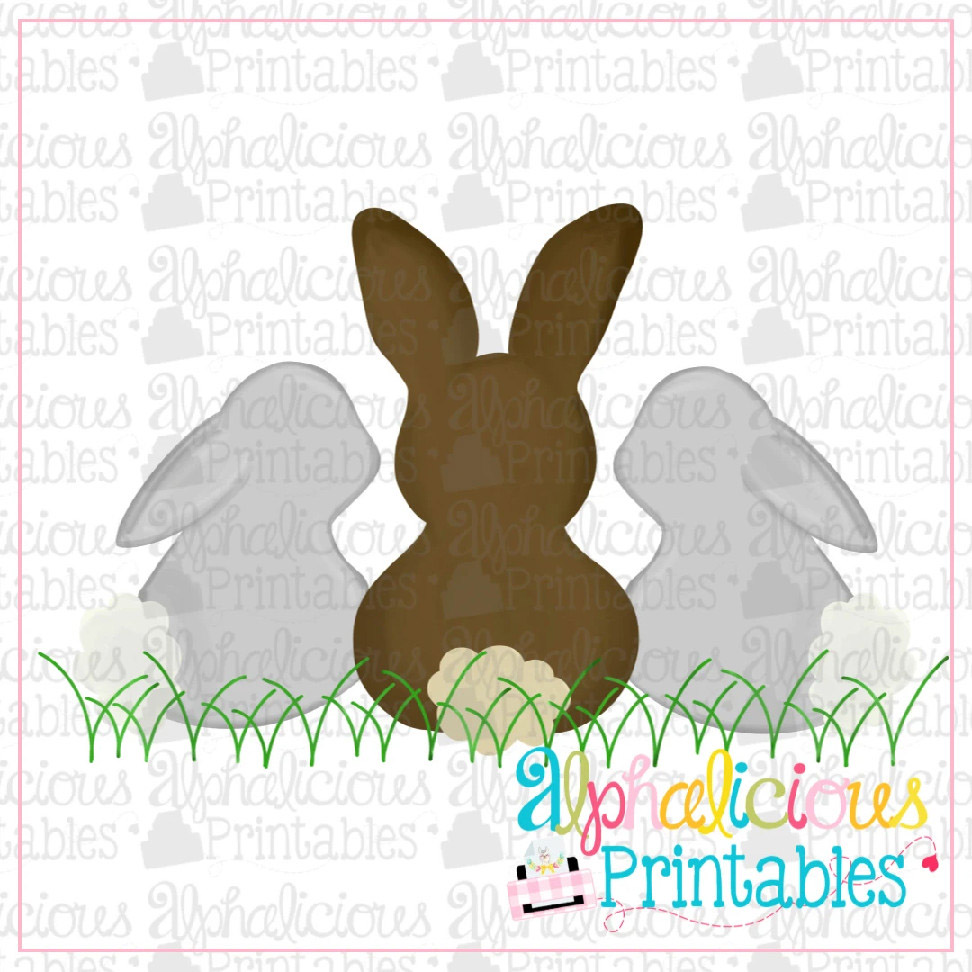 Sweet and Simple Bunny Trio-No Bow-Printable