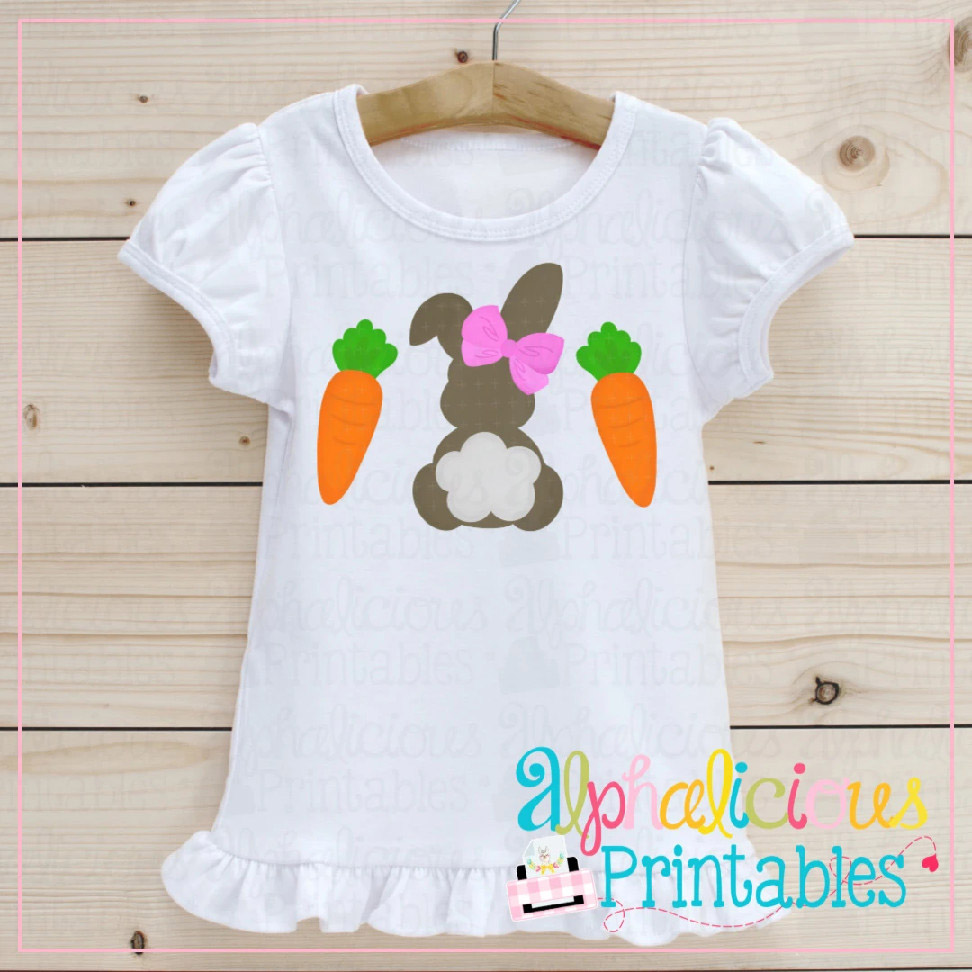 Bunny with Bow and Carrots-Printable
