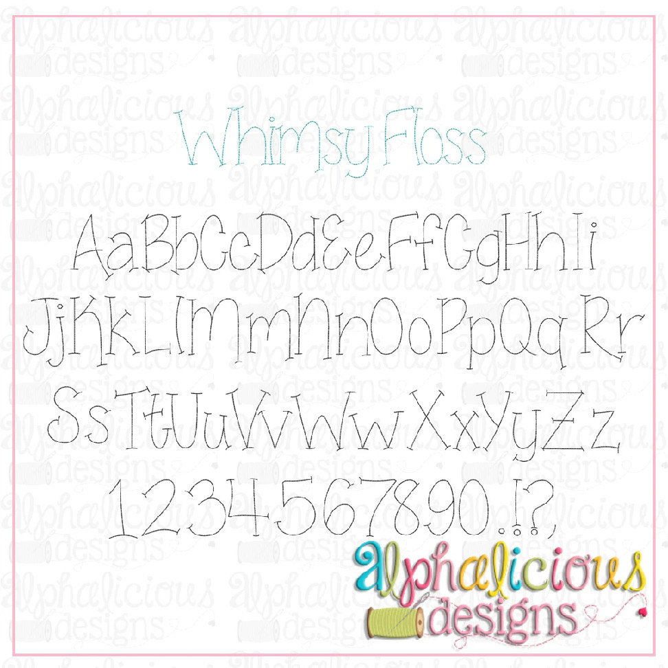 Whimsy Floss Embroidery Font