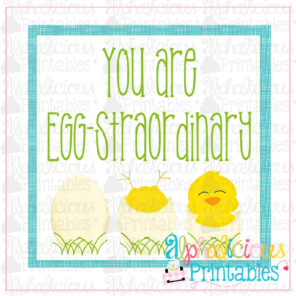 You Are Eggstraordinary-Yellow and Turquoise-Easter Printable Tags