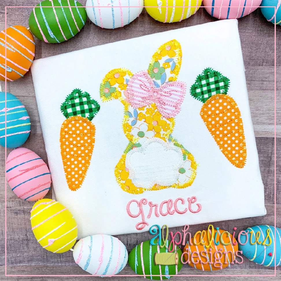 Bunny with Bow and Carrots-ZigZag