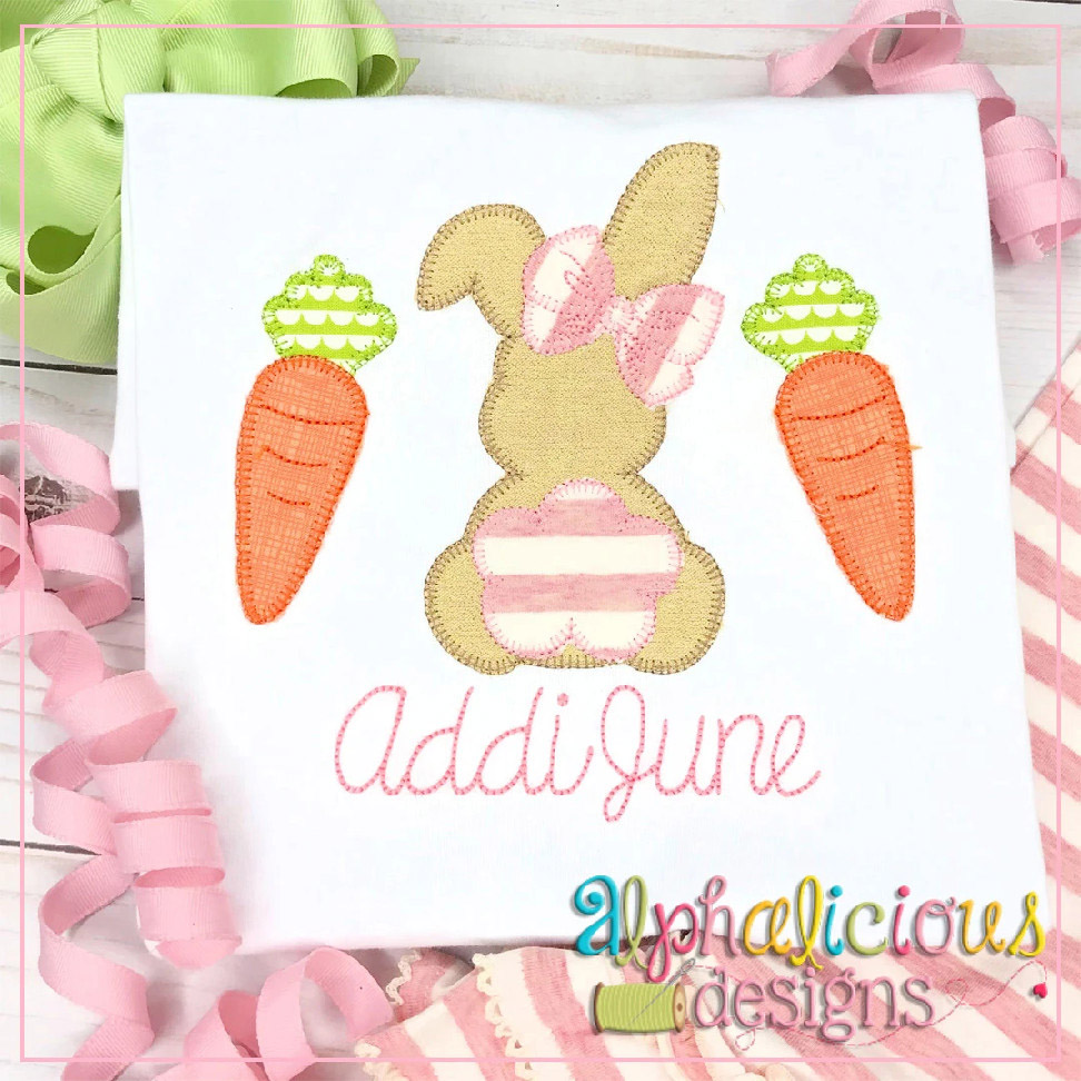 Bunny with Bow and Carrots-Blanket