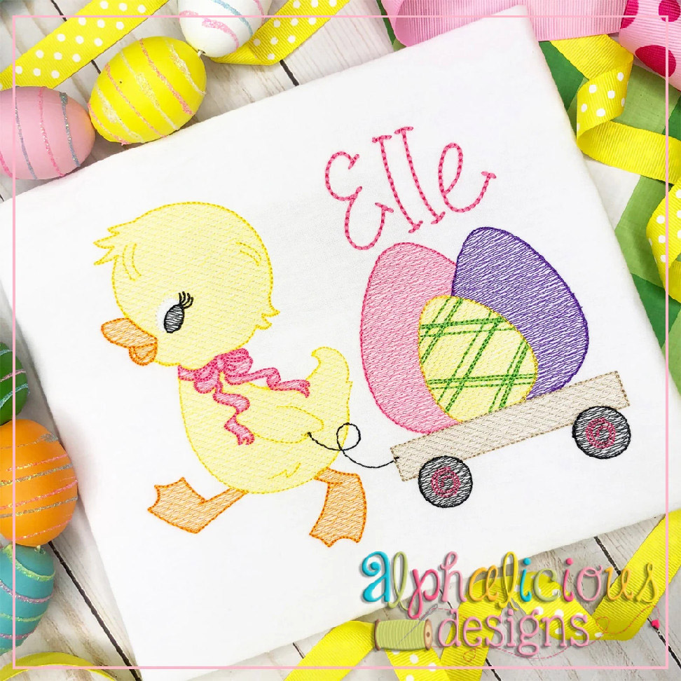 Duck with Bow and Wagon (Easter Eggs)-Sketch