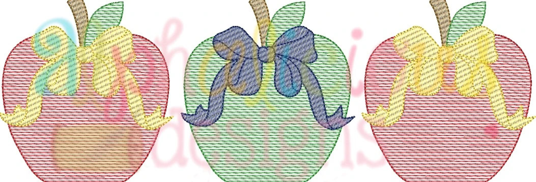 Copy of Apple With Bow Three In A Row-Sketch
