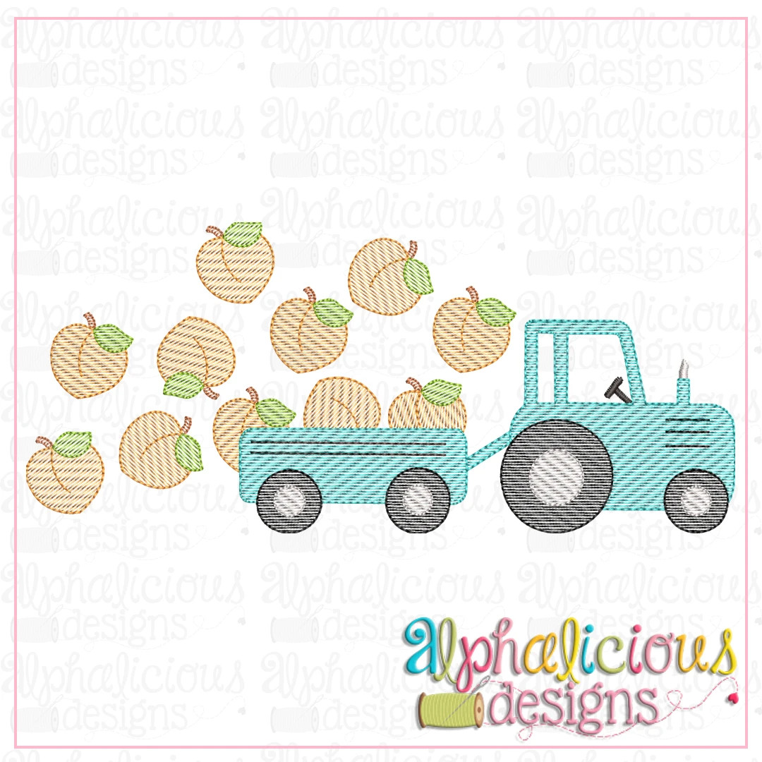 Farm Tractor with Peaches-Sketch