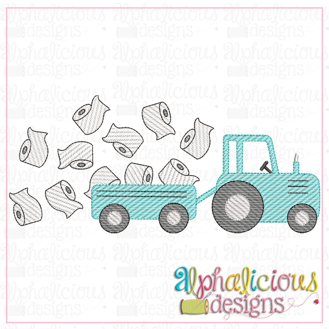 Farm Tractor with Toilet Paper-Sketch