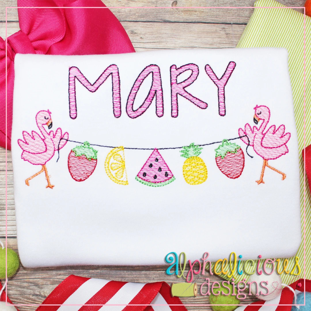 Fruity Tooty with Flamingos Bunting-Sketch