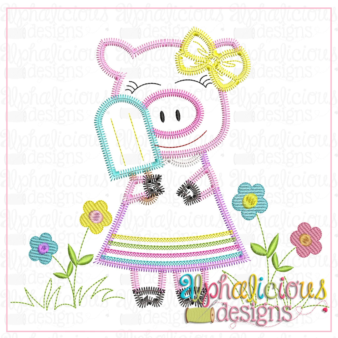 Piggie with Popsicle and Bow-ZigZag