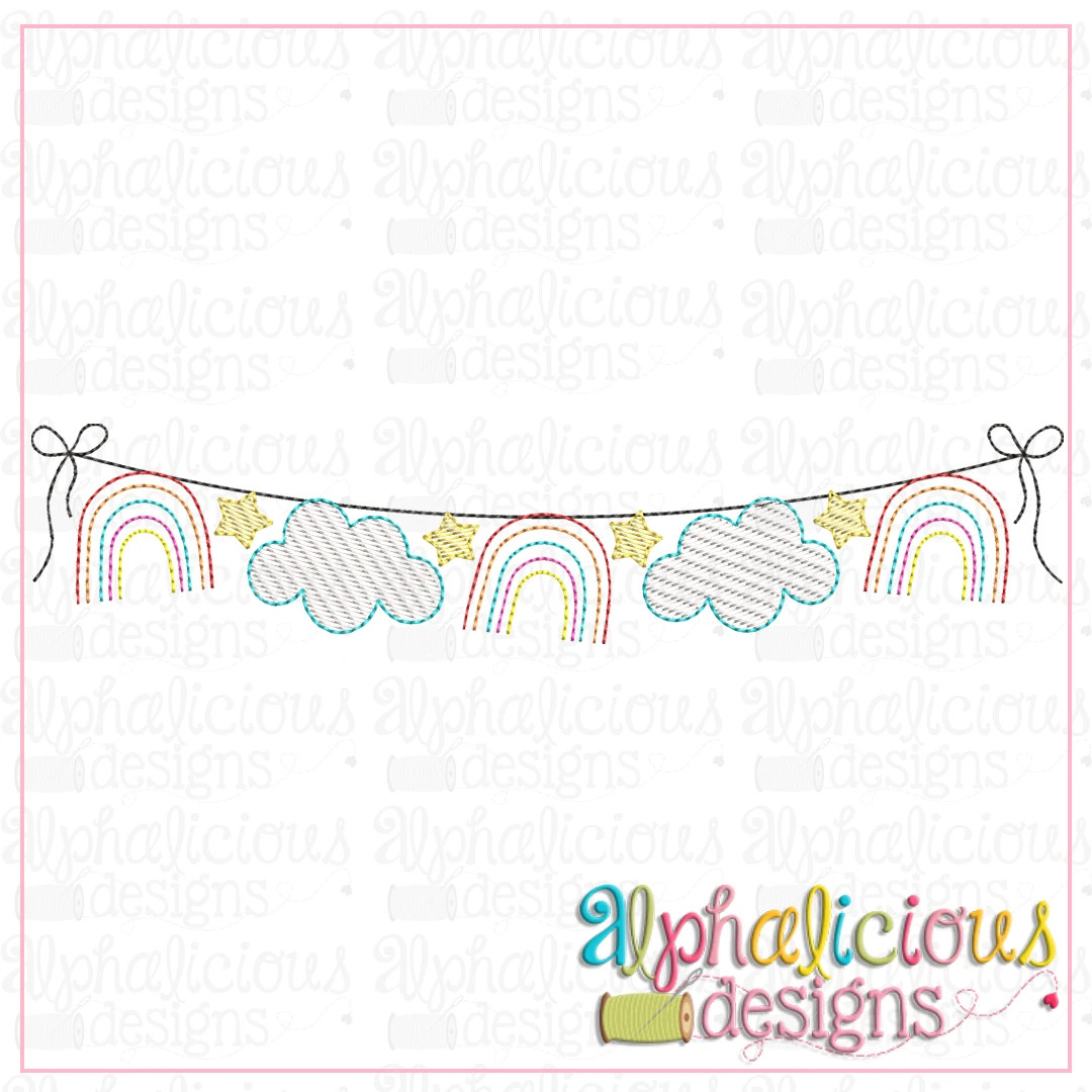 Rainbows and Clouds Bunting-Sketch