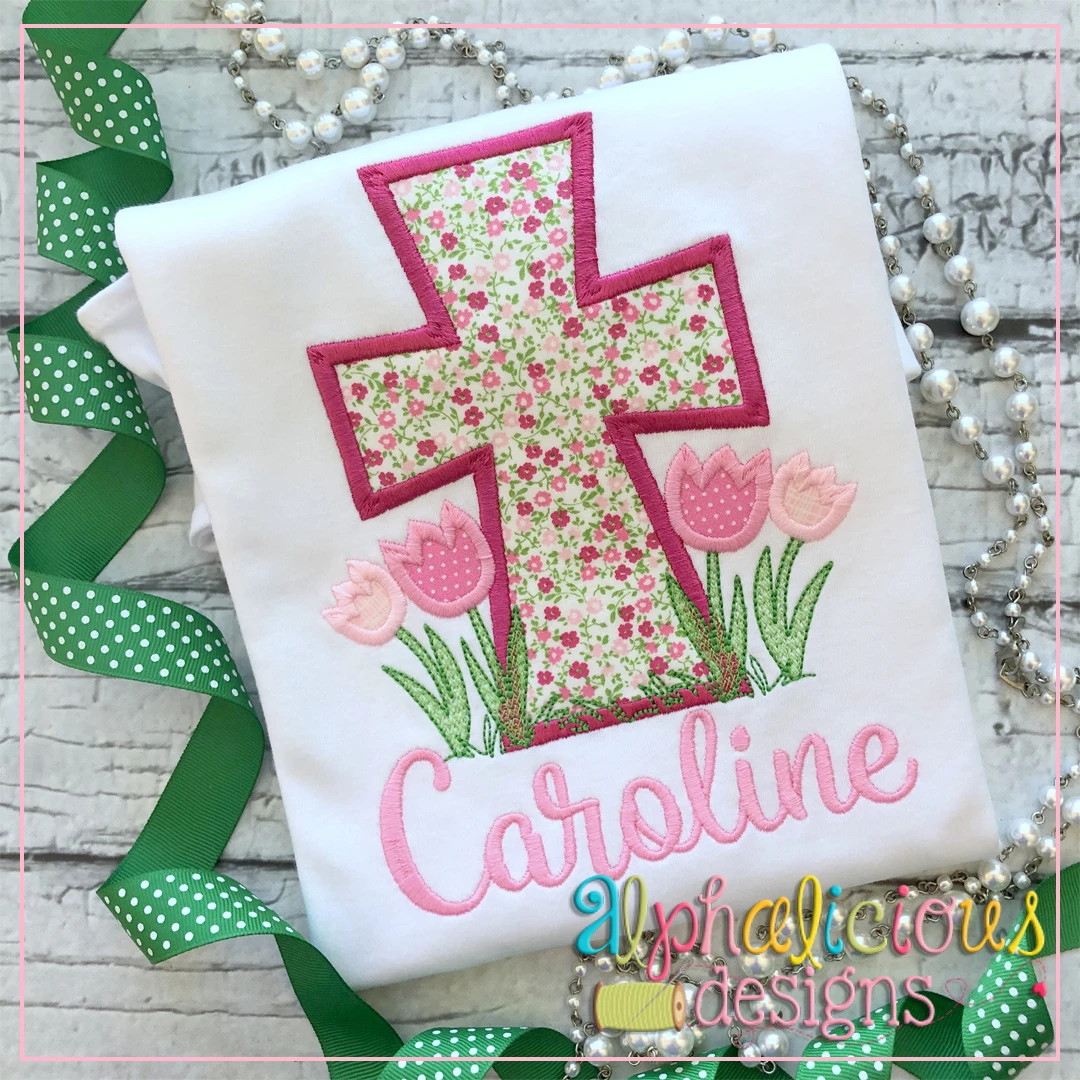 Cross with Flowers-Satin