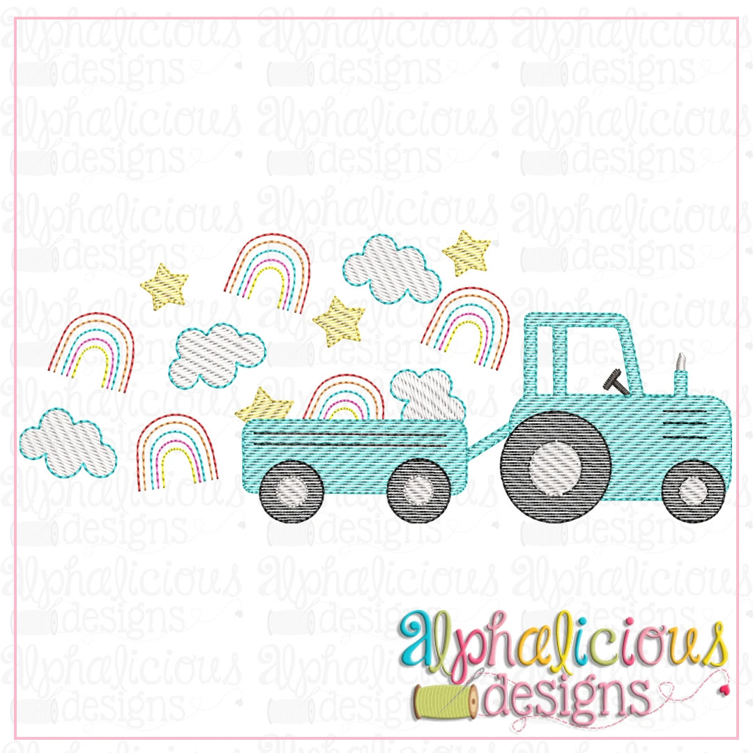 Farm Tractor with Rainbows and Clouds-Sketch
