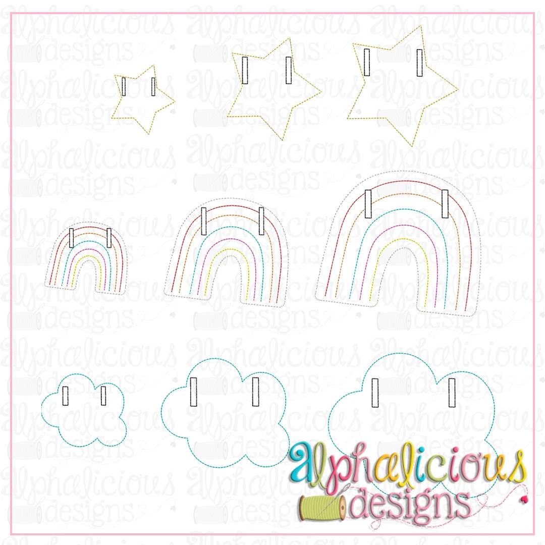 Rainbow, Cloud, And Star Bunting-In-The-Hoop