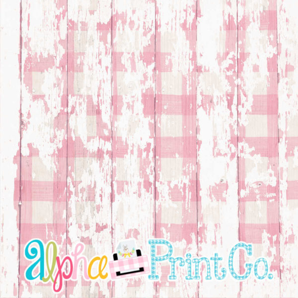 Backdrop- Distressed Wood--Gingham-Pink
