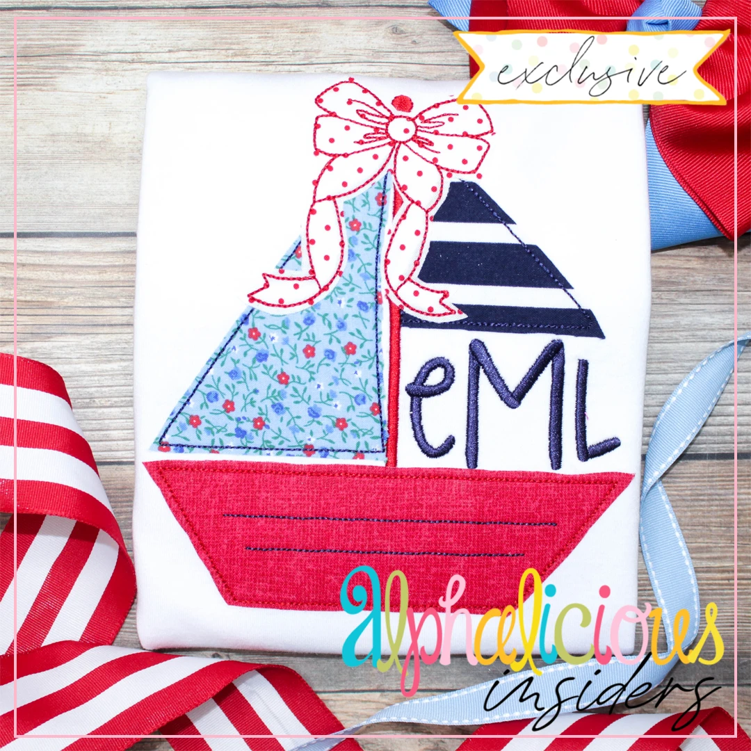 Sailboat Monogram with Bow-Triple Bean- Elite Mama