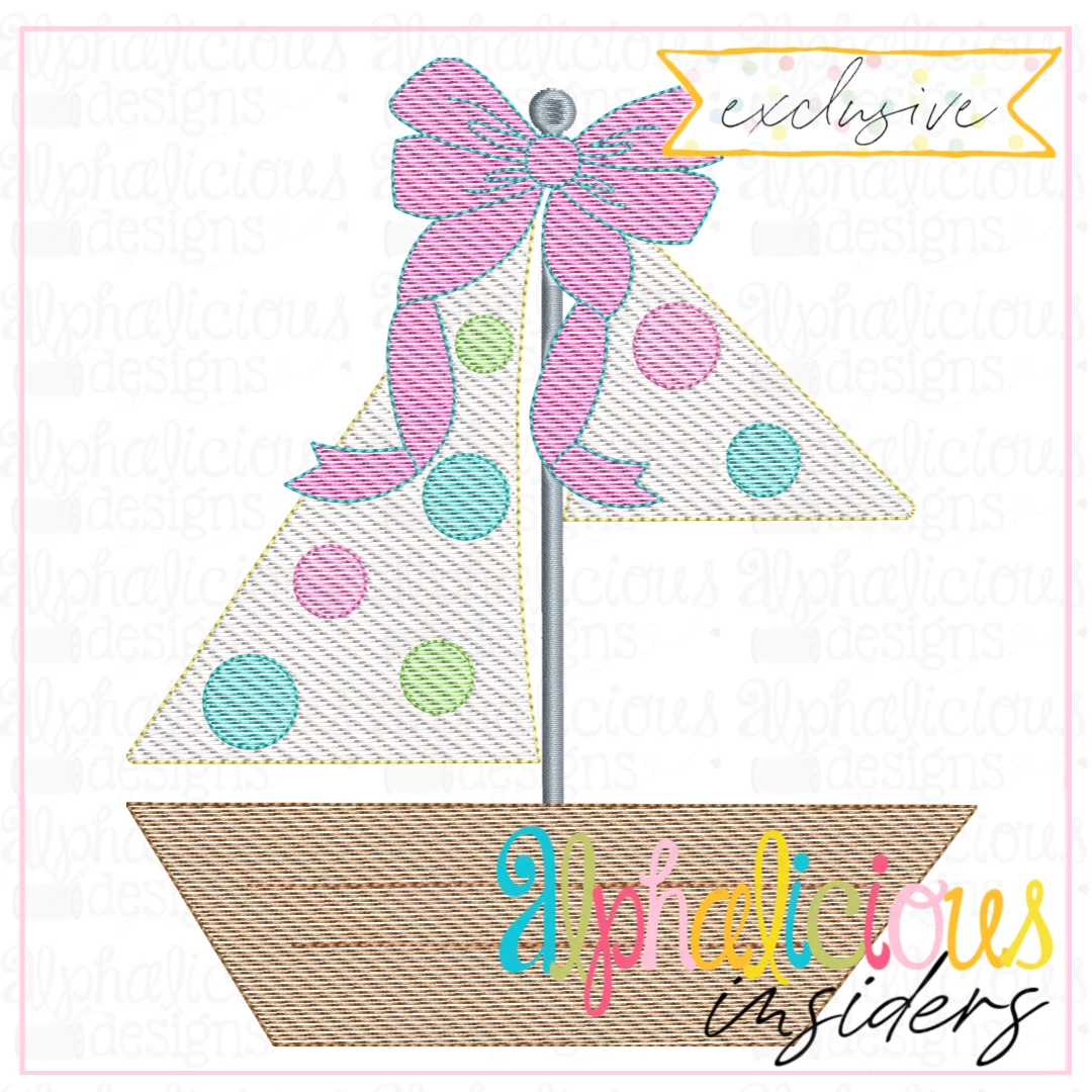 Sailboat Monogram with Bow-Sketch