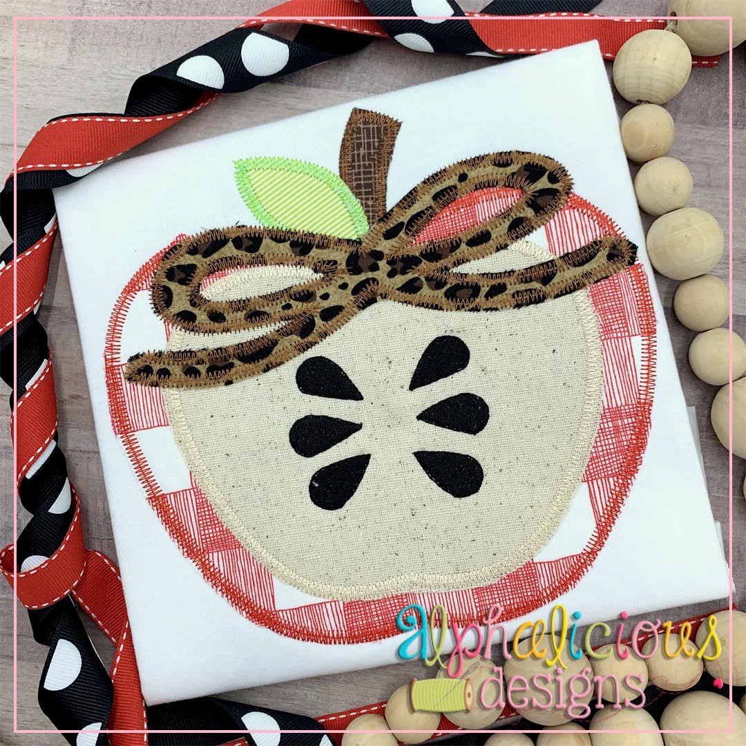 Apple Half with Bow-ZigZag