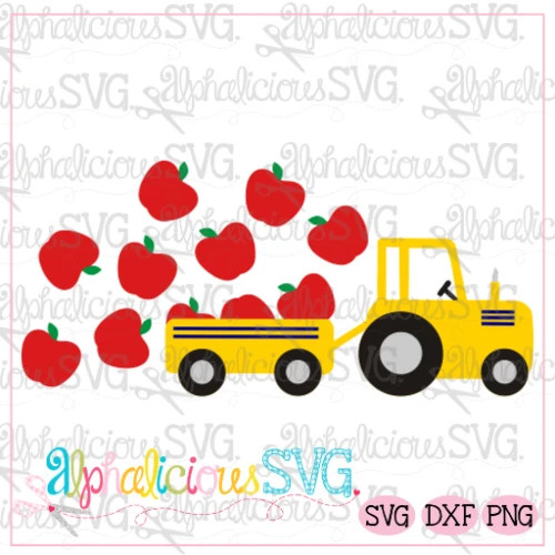 Farm Tractor with Apples-SVG