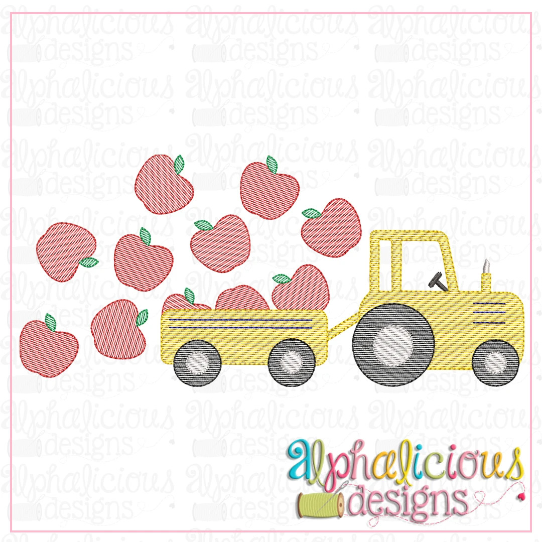 Farm Tractor with Apples-Sketch