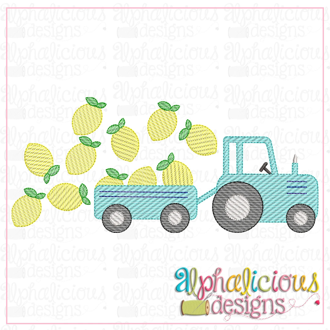Farm Tractor with Lemons-Sketch