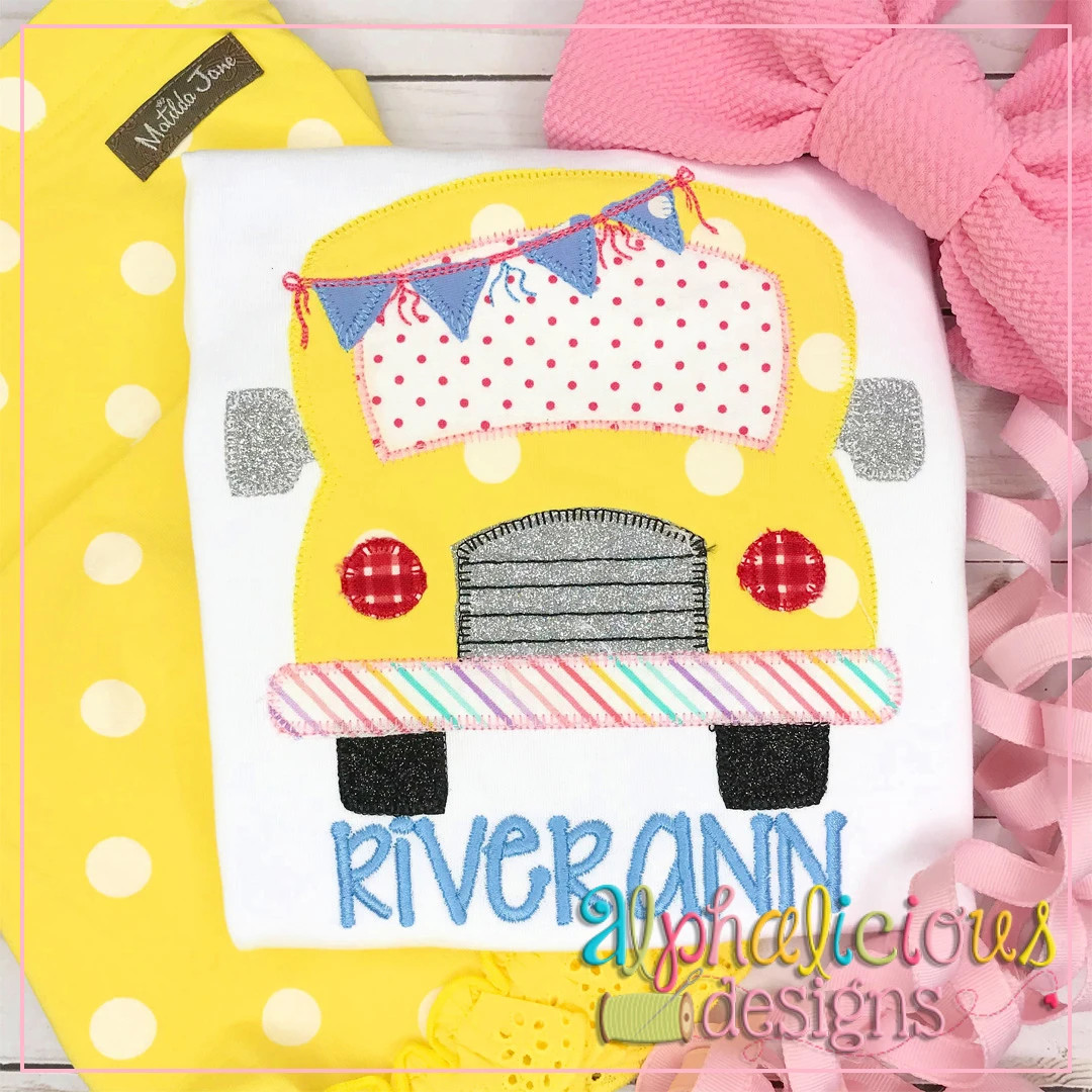 School Bus with Bunting-Blanket