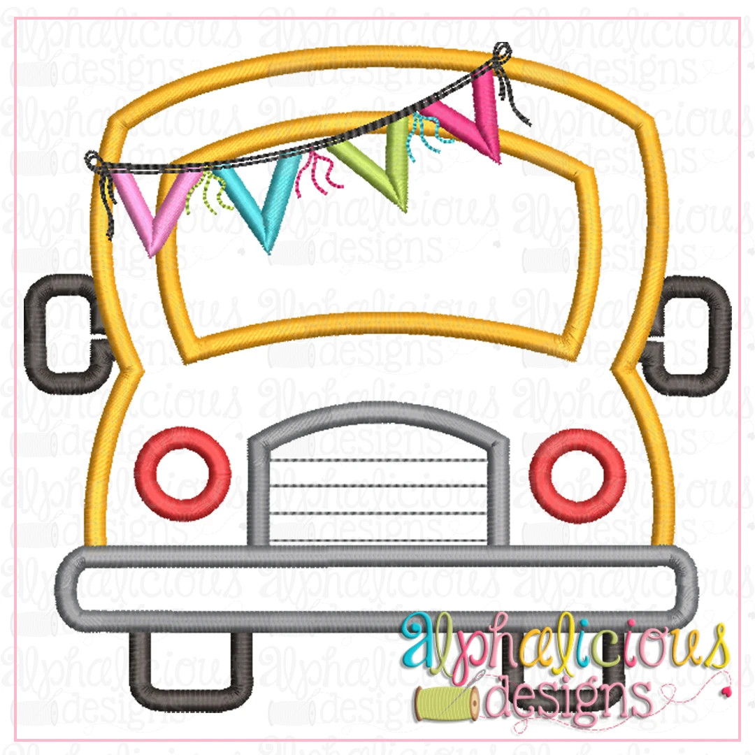 School Bus with Bunting-Satin