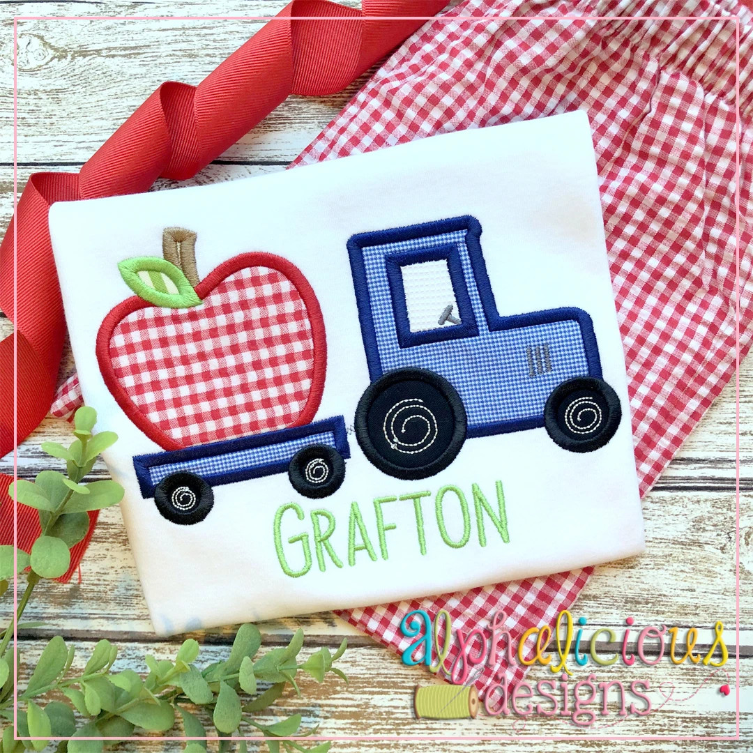 Tractor with Apple-Satin