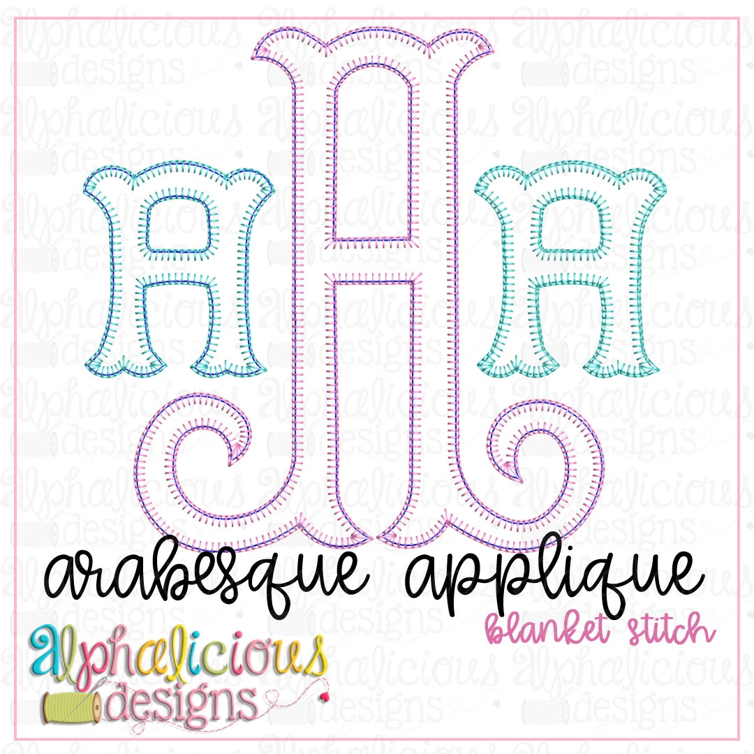 Arabesque Applique Monogram Font-Blanket
