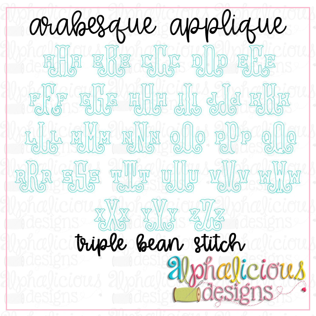 Arabesque Applique Monogram Font-Triple Bean