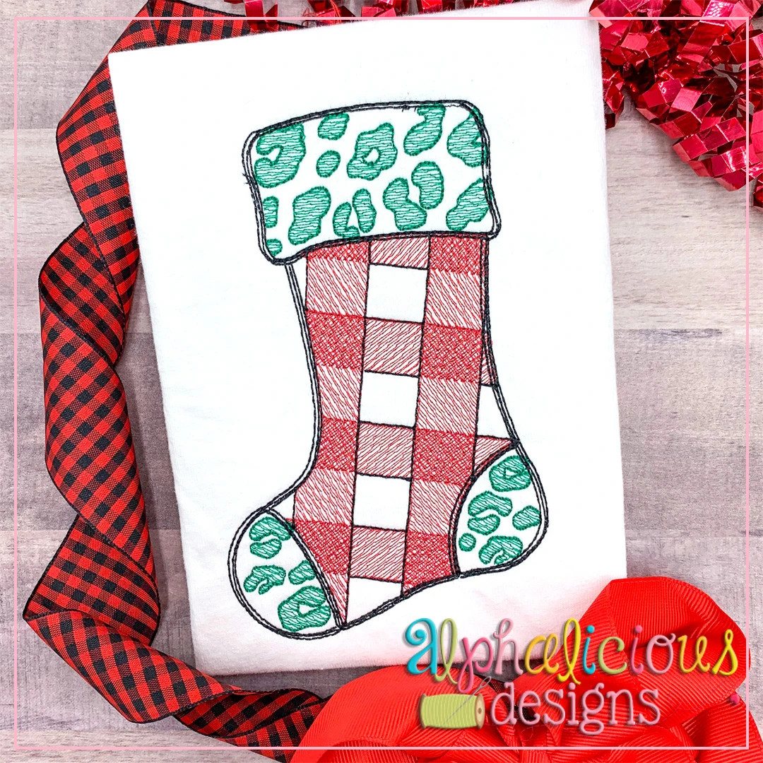 Leopard and Buffalo Plaid Stocking-Sketch