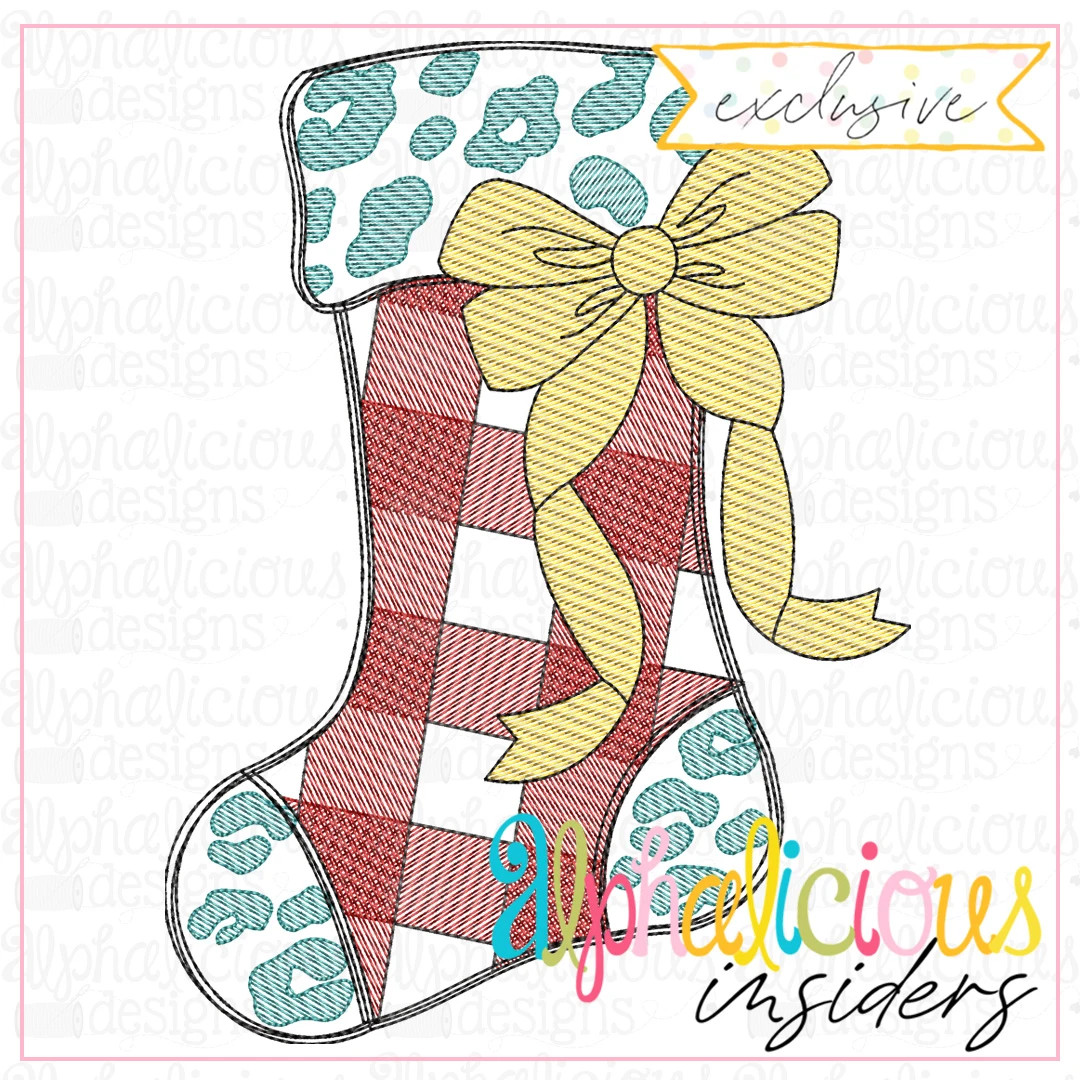 Leopard and Buffalo Plaid Stocking with Bow-Sketch