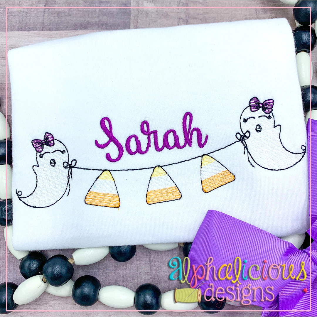 Ghost with Bow Bunting-Candy Corn-Sketch