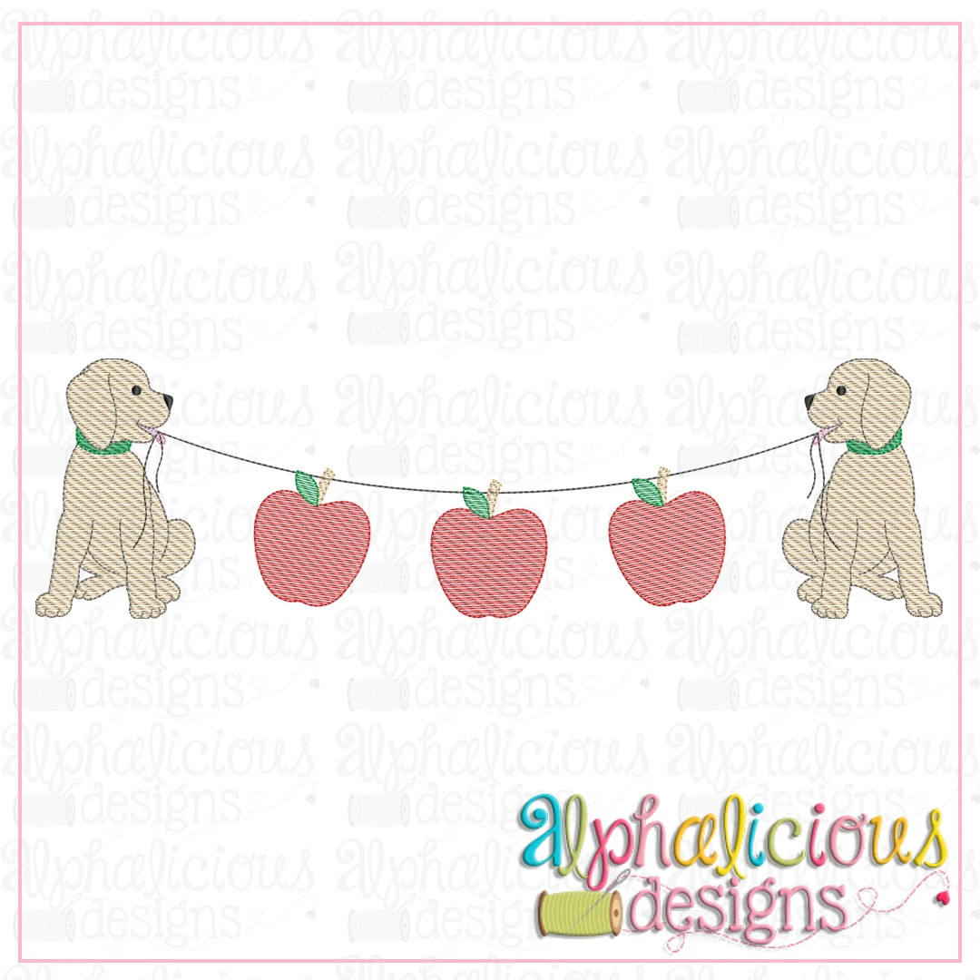 Pup Bunting with Apples-Sketch