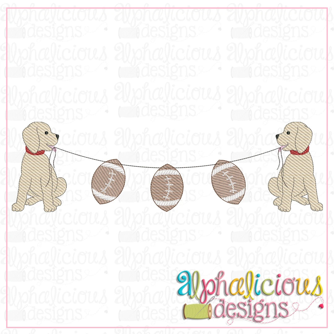 Pup Bunting with Footballs-Sketch