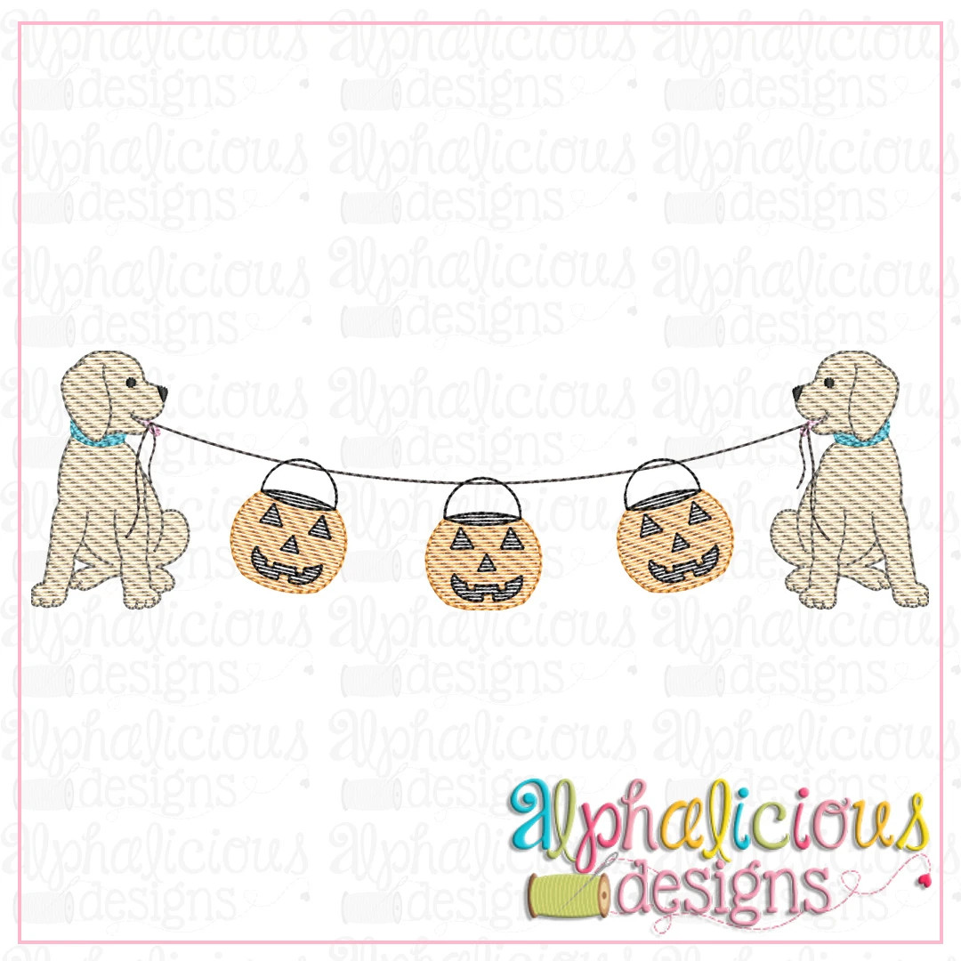 Pup Bunting with Pumpkins-Sketch