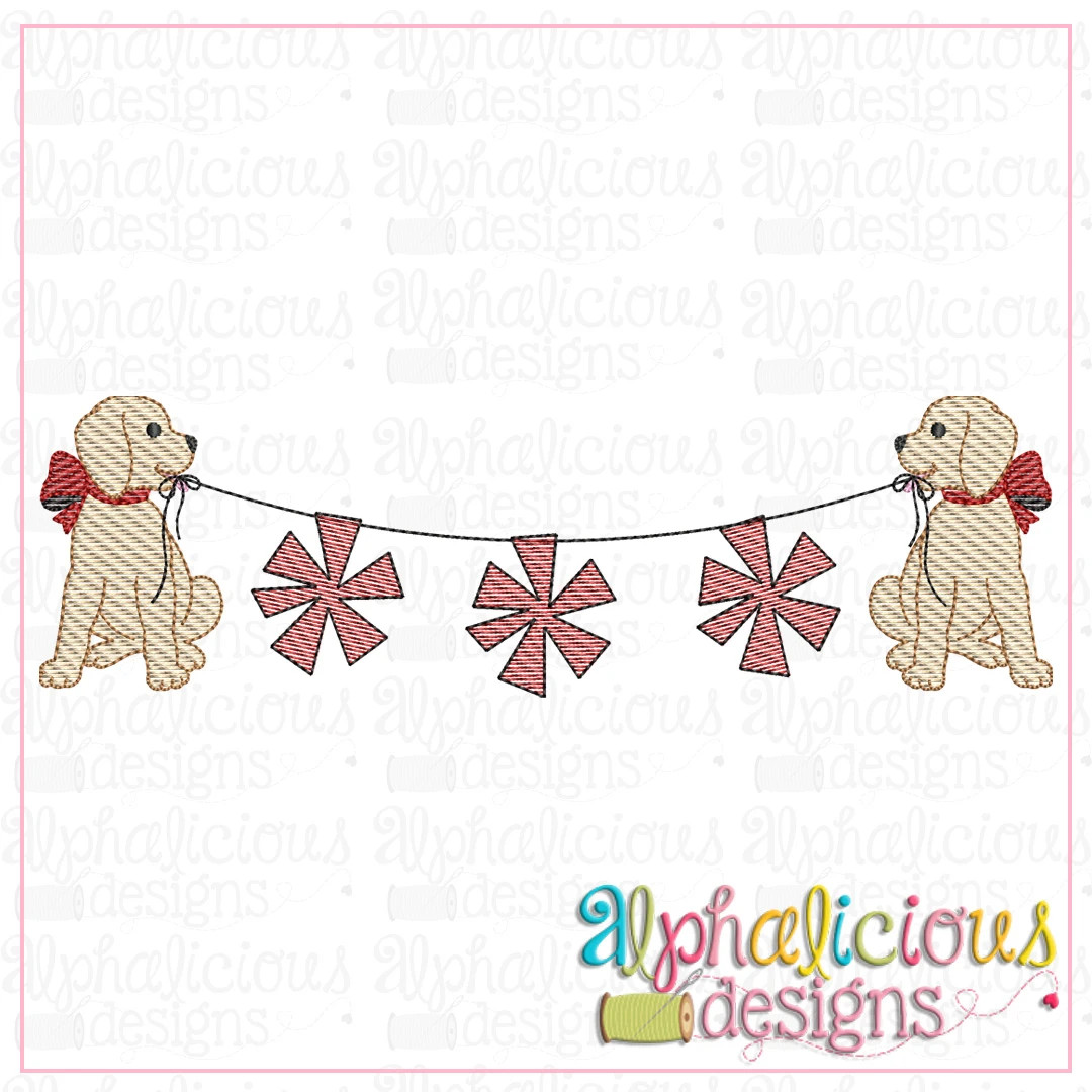 Pup with Bow Bunting with Pom Poms-Sketch