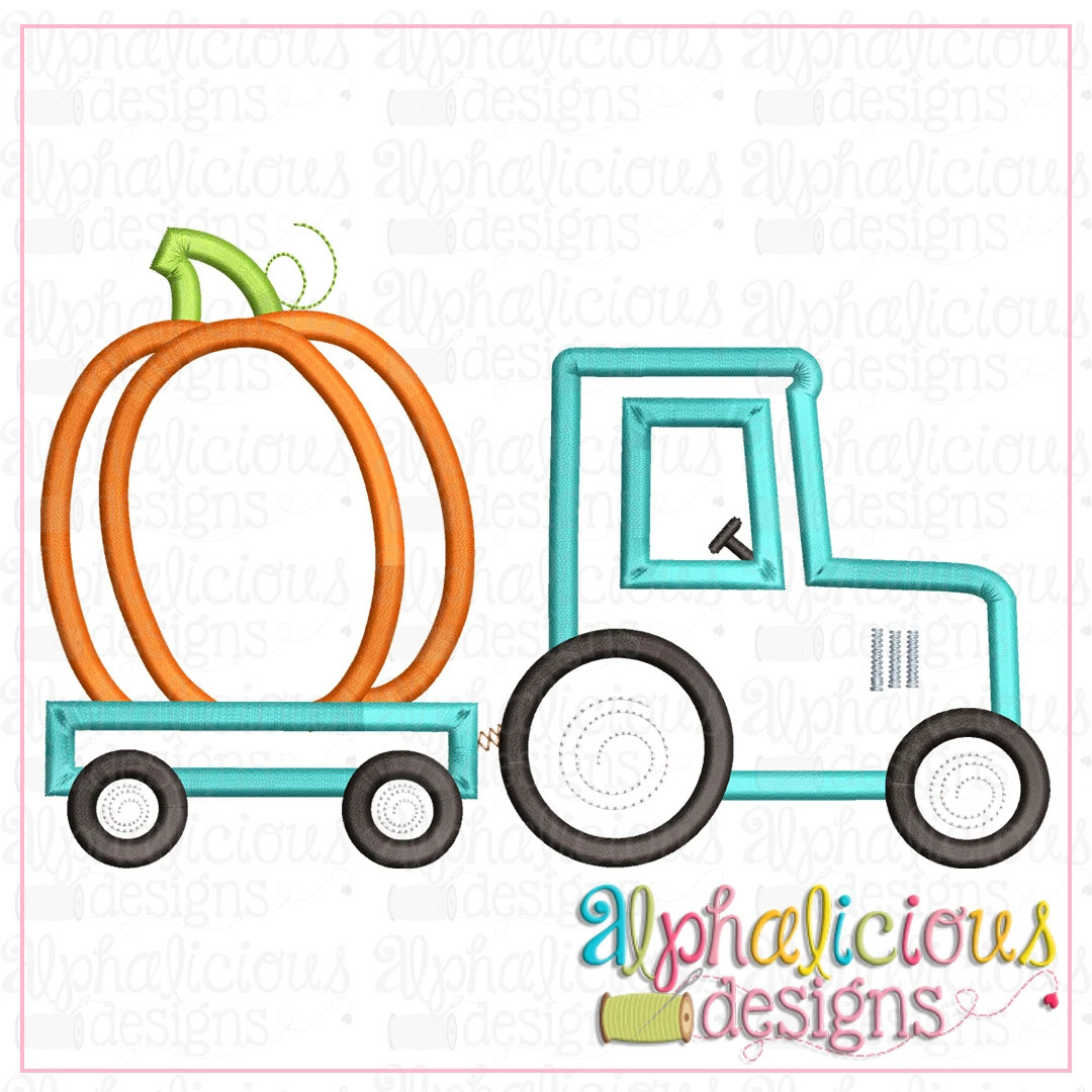 Tractor with Pumpkin-Satin